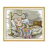 Decdeal Punto de Cruz Patrón de Pareja de Ancianos,con Tela de Lona 14ct Preimpresa y Costura de Bordado de Hilo de Algodón, 17.3 x 14 Pulgadas