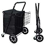 NSdirect Grocery Utility Folding Shopping Cart, Jumbo Double Basket Utility Cart...