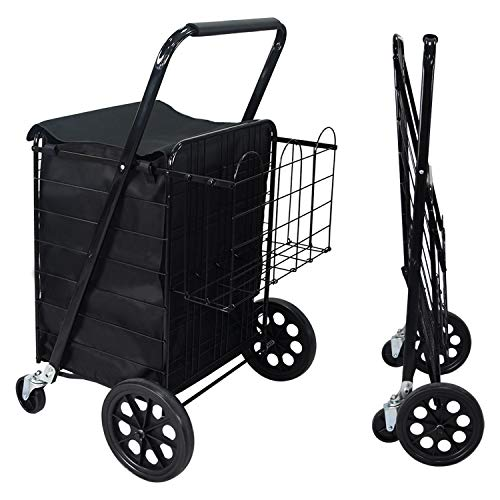NSdirect Grocery Utility Folding Shopping Cart, Jumbo Double Basket Utility Cart with 360° Rolling Swivel Wheels for Laundry, Shopping, Camping, Grocery, Luggage