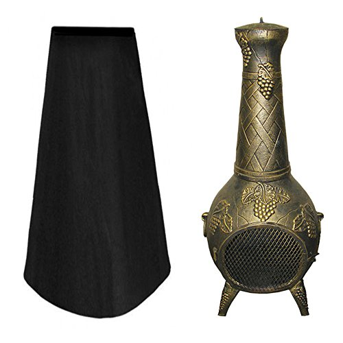 N/U Large Chiminea Cover, Outdoor Heavy Duty Patio Heater Cover, 1.2m High Oxford Fabric Chimenea Protector for Garden Chimney Fire Pit Fountain