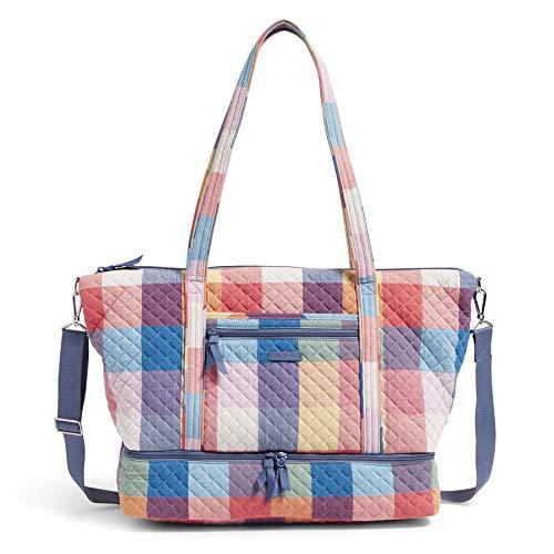 Vera Bradley Damen Signature Cotton Deluxe Tote Travel Bag Reisetasche, Tropics Plaid, Einheitsgröße