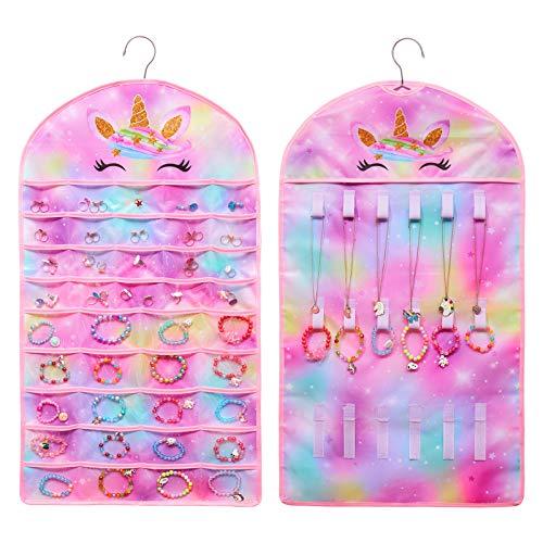 FIOBEE Girls Hanging Jewelry Organizer Holder Unicorn Jewelry Storage Display with Hanger for Kids Earrings Necklace Bracelet