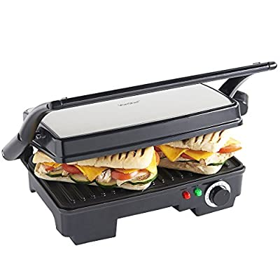 VonShef 2-in-1 Sandwich Toaster Maker and Grill, 2 Slice Panini Press with Adjustable Temperature Control and Non-Stick Plates for Healthy Grilling – 1500W