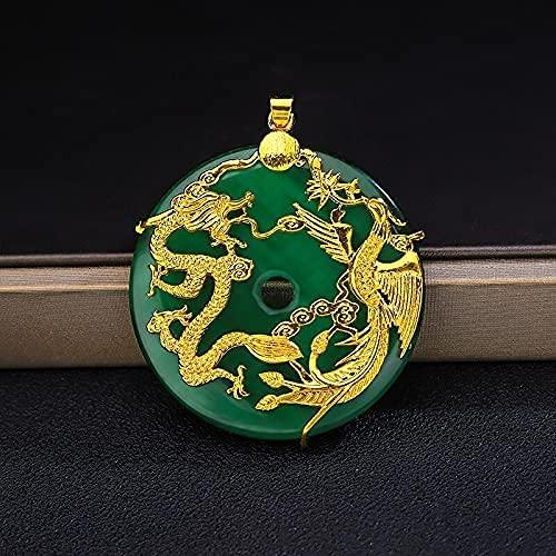 AMOZ Fashionchinese Calcedonia Verde Natural Tallada a Mano Dragón Y Phoenix Colgante de Moda Boutique Joyería Collar de Pareja Regalo Popular,Verde