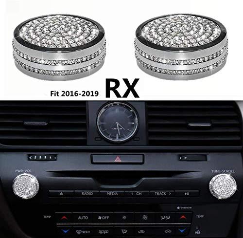 NIUHURU Car Interior Trim Bling Accessories Audio Knob Rhinestone Decals Cover fit for Lexus RX 350 450 2016-2019 (Silver, 2010-2019 RX GS)