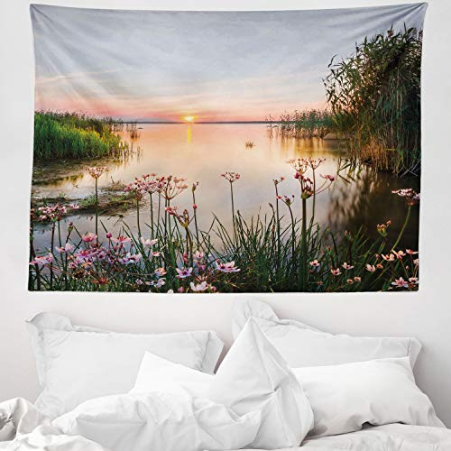 ABAKUHAUS Naturaleza Tapiz de Pared y Cubrecama Suave, Atardecer en el Lago Chudskoy Estonia Flores de Primavera Paisaje, Lavable Colores Firmes, 150 x 110 cm, Azul Bebé