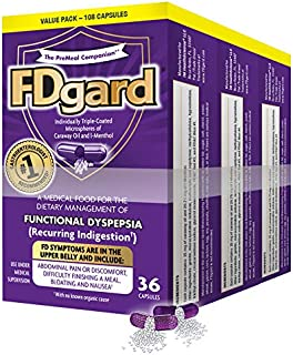 FDgard® for The Dietary Management of Functional Dyspepsia (Recurring Indigestion) Symptoms Including, Abdominal Discomfort, Difficulty Finishing a Meal, Bloating†*, Nausea, 108 Capsules