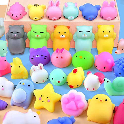 Mochi Squishy Toys 20 Pcs Mini Squishy Animal Squishies Party Favors for Kids Kawaii Squishy Squeeze Toy Cat Unicorn Squishy Stress Relief Toys for Adults Birthday Favors for Kids Pinata Filler Random