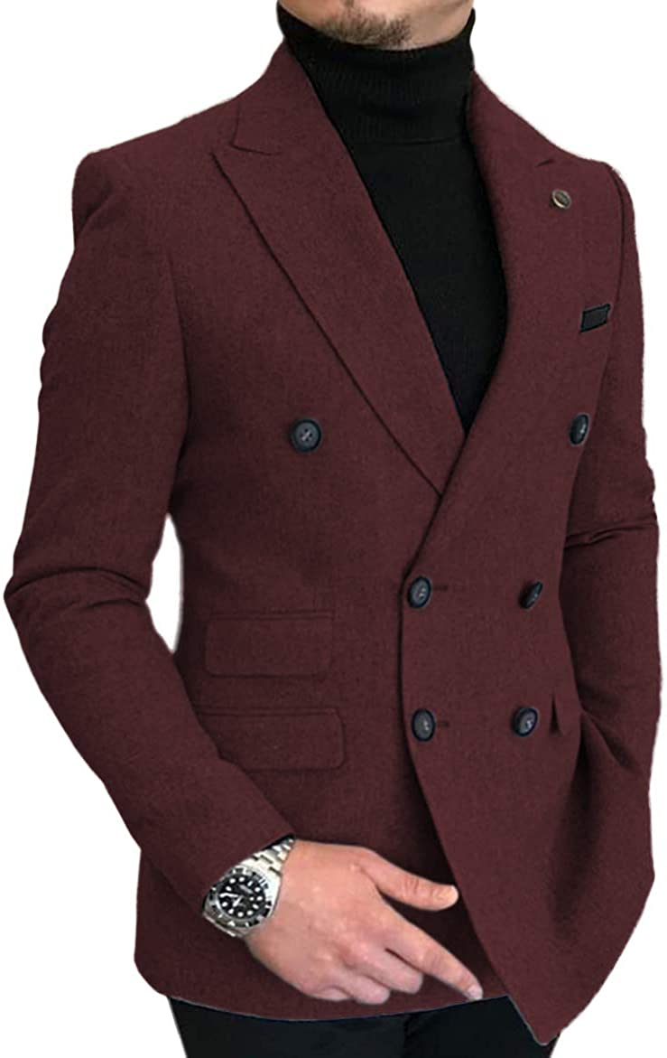 Men's Double-Breasted Herringbone Men Suit Tweed Wool Jacket Smart Wedding Blazer