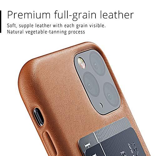 Mujjo - Custodia a portafoglio in pelle per Apple iPhone 11 Pro | 2 – 3 scomparti per carte di credito, in morbida pelle morbida, effetto invecchiamento, colore marrone chiaro