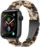 NYENEIL Compatible with Apple Watch Band 38mm 40mm for iWatch SE Lightweight Resin Wristband Bracelet Strap Series 6 5 4 3 2 Mens Womens (Tortoise Stone Flower, 38MM/40MM)