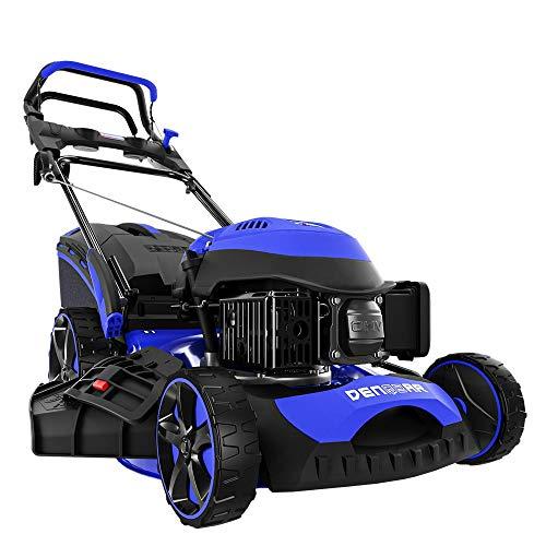 DENQBAR Benzin-Rasenmäher DQ-R46 - (7-in-1, 46 cm Schnittbreite, Mulcher, Mäher, Radantrieb mit GT Getriebe, Grasfangkorb 65 L, Schnitthöhe 25-75 mm)