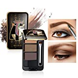 GECOMO Eyebrow Palette, 3 Color Multipurpose Makeup Pallet for Eye Brow, Matte Eyeshadow, Contour, with Mirror & 2 Head Brush Kit, Egypt Style Natural Waterproof Daily Primer Face Makeup Powder 02
