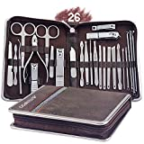AUTENPOO Nail Clippers, Pedicure Kit 26 in 1 Manicure Set, Professional Nail Kit for Pedicure & Manicure, Pedicure Tools with Toenail Clippers and Fingernail Clippers (Brown)
