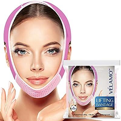 VELAMO Reusable V Line Mask Facial Slimming Strap, Double Chin Reducer, Chin Up Mask, Face Lifting Belt, V Shaped Slimming Face Mask