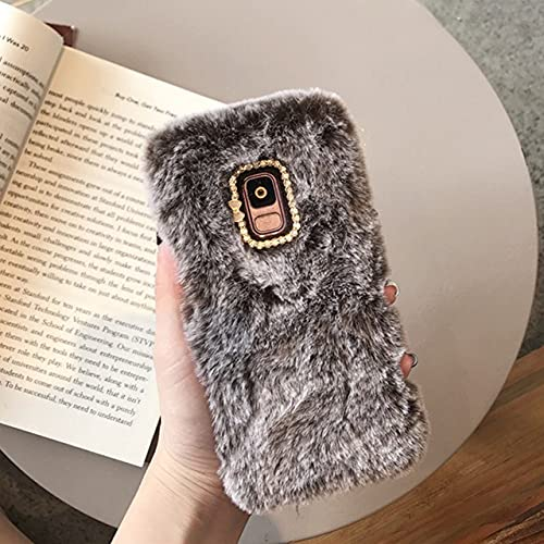 Estuche de Felpa para Samsung Galaxy S8 S9 S10 Plus S7 Note 10 9 8 A7 A6 A8 Plus J3 J5 J7 J6 2017 2018 Estuches para teléfonos Peludos Cubierta de TPU, marrón, para J8 2018