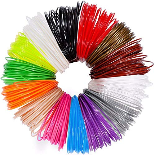 3D Penna Filamento Ricarica PLA 12 Colori, 10 Feet(3M) Ogni Colore, Totale 120 Feet(36m) - Aishtec 1.75mm PLA Fliament Set per la Stampa 3D, 3D Stampante