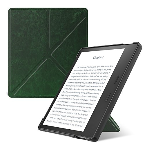MoKo Hülle für All-New Kindle Oasis (9th and 10th Generation, 2017 and 2019 Release), Kunstleder Origami Ständer Schutzhülle Smart Cover mit Auto Sleep/Wake Geeignet - Dunkel Grün