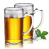 XGzhsa Jarra de cerveza con asa, Vasos de cerveza, Tazas de cerveza duraderas de 2 piezas 500 ml tazas de agua clásicas resistentes a caídas para bar en casa