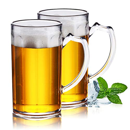 XGzhsa Grande brocca da birra, Bicchieri acqua vetro, Tazze da birra durevoli da 2 pezzi Tazze da acqua classiche resistenti alla caduta da 500 ml per bar di casa