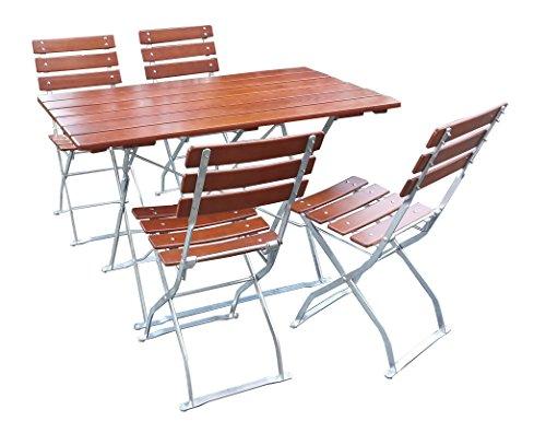 EuroLiving Biergartengarnitur 1x Tisch 120x70 cm & 4X Stuhl 3 Rückenlehnen Edition-Classic Ocker/verzinkt
