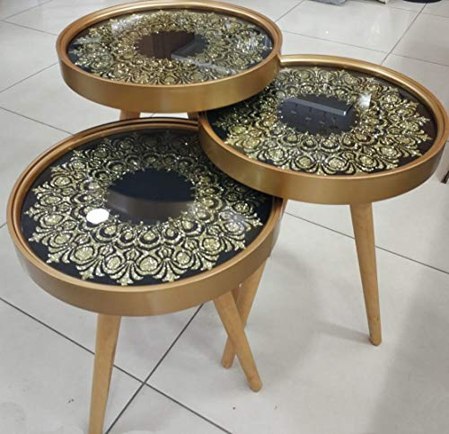 Decor Point bijzettafel, salontafel, satelliettafel, glas model design zilver-retro 3'er