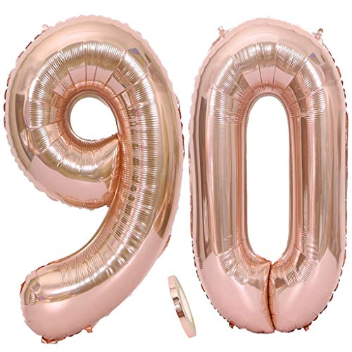 2 Globos Número 90 Oro Rosa, Number 90 Globo de Helio Globo Gigante Numero 90 con Cinta 40  Globo Foil para Decoración de Fiesta de Cumpleaños Fiesta de Graduación (XXXL 100 cm)