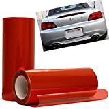 12 by 48 Inches Self Adhesive Headlight, Tail Lights, Fog Lights Tint Vinyl Film (12 X 48, Red)