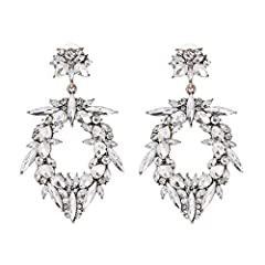💎Large silver statement earrings jewel encrusted with precious clear rhinestones on an antique gold base. The perfect jewellery accessory for women. 💎Suitable for evening, party, wedding, birthday, holiday, bridal, prom wear. 💎Ideal for any gift givi...