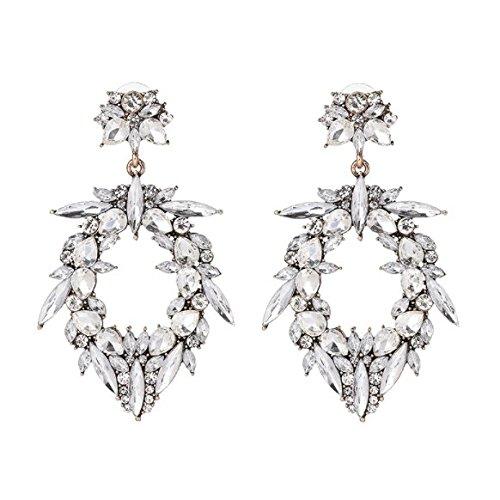 Nikita By Niki  Large Silver Diamante Statement Rhinestone Earrings   Floral Drop Crystal Chandelier Cubic Zirconia For Women