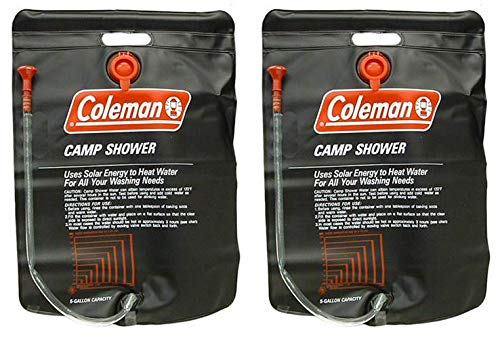 %9 OFF! (2) Coleman 5 Gallon PVC Solar Heated Water Camp Showers - with On/Off Valve