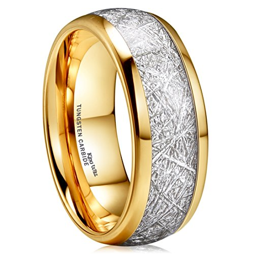 King Will Meteor 8mm 14K Gold Plated Domed Tungsten Carbide Ring Imitated Meteorite Wedding Band(7.5)