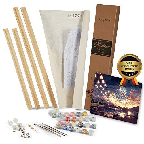 MARPL® Malen nach Zahlen Erwachsene [DIY-Kit] mit Rahmen - Malset mit vorgedruckter Leinwand für Gemälde Acrylfarben Kreativ Motiv 40 * 50cm Feuerwerk
