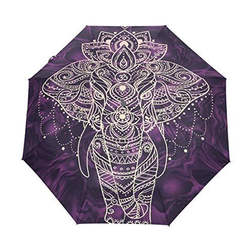 Bigjoke Regenschirm, 3-Fach faltbar, automatischer Öffnung, Galaxie, Elefant, Winddicht, Reise-Regenschirm, kompakt für Jungen, Mädchen, Männer, Frauen
