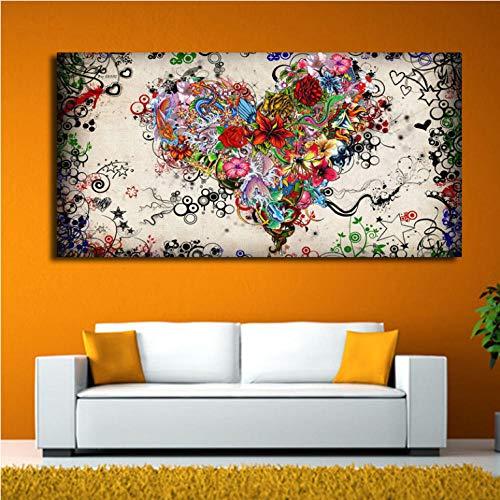 Quadro moderno grande tela arte tela pittura cuore acquerello fiori quadri astratti parete per soggiorno stampa HD ASW152