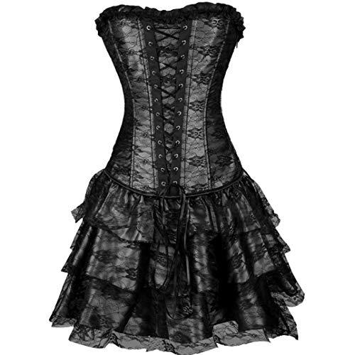 JOYOTER Abito da Donna Sexy con Lacci Corsetto Gotico Clubwear Sottile Steampunk Lingerie Top Perizoma Bustier