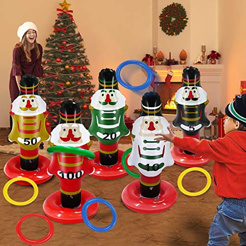 TURNMEON 5 Pack Christmas Nutcrackers Ring Toss Christmas Party Games Toys Inflatable Ring Toss Kids Family Christmas Party Supplies Decoration Indoor Outdoor Games(5 Scoreboard Nutcracker, 8 Rings)