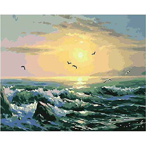 YSNMM Zee Zonsopgang Mooi Uitzicht Sunshine Landschap Romantische Decor Art Woonkamer Kleurplaten Door Getallen Modulaire Woonkamer Decor Art