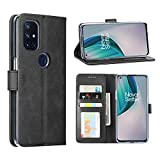 DDJ case for Oneplus Nord N10 5G,Cover Flip TPU&PU Leather Case with Kickstand, Multi-Function Magnetic Suction Strong Closure Wallet Phone Case for Oneplus Nord N10 5G (Black)