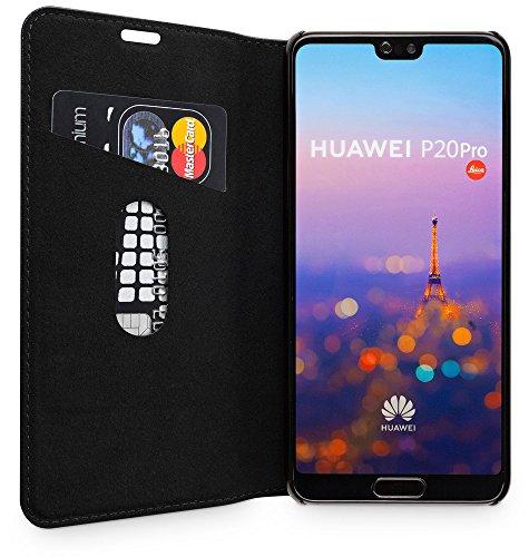 WIIUKA Echt Ledertasche -TRAVEL- für Huawei P20 PRO, mit Kartenfach, extra Dünn, Tasche Schwarz Premium Design Leder Hülle