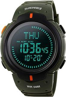 Men's Military Sports Digital Watch Survival Compass LED Screen 50M Waterproof Stopwatch Alarm Wristwatch