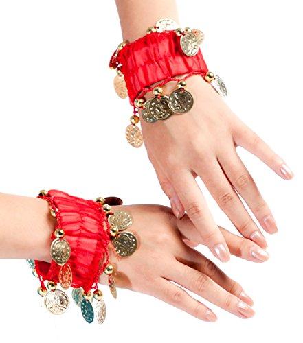 Demarkt ein Paar Bauchtanz Armband Armreif Armbänder Armschmuck Rot