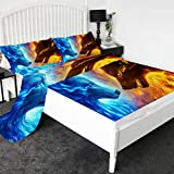 Fire and Ice by JoJoesArt Wolf 3D Printed Bed Sheets 4-Piece Premium Quality 1800 Microfiber Non-Fade Breathable Soft - 1 Flat Sheet,1 Fitted Sheet,2 Shams (Twin)