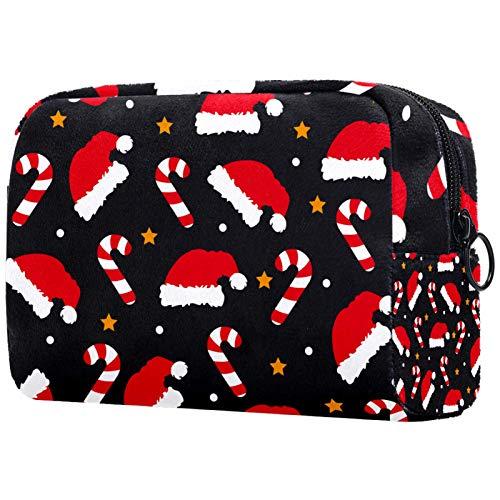 Neceser de Maquillaje Estuche Escolar para Cosméticos Bolsa de Aseo Grande Red Christmas Hat_Mesa De Trabajo 1