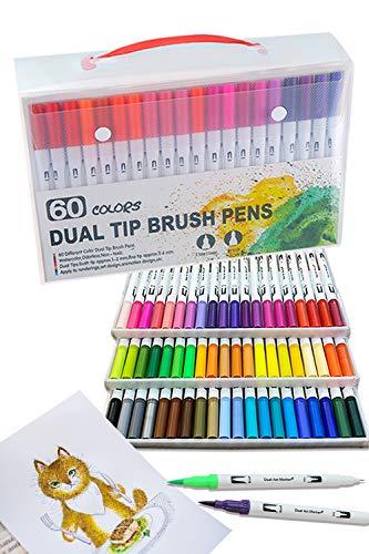[island-banana] カラー筆ペン 60色セット カラーペン マーカーペン 水性ペン 水彩ペン 塗り絵 画材 筆ペン カラー 収納ケース付き