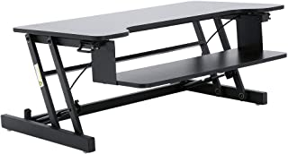 Compact Standing Desk Converter, 28 x 20 Inches, Height Adjustable Desk Riser for Dual Monitor or Laptop, Convert any Desk to a Stand Up Desk, Sit or Stand While Working, no Assembly Required (Black)