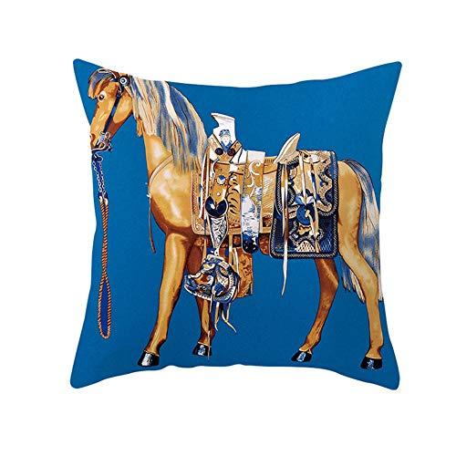 Fundas de cojín Fundas de Almohada decorativas Caballo Marrón Azul Terciopelo Suave Cuadrado Fundas de Cojines para Sala de Estar Sofá Cama Coche Decor Throw Pillow Case V4887 Pillowcase+core,