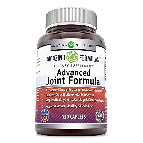 Amazing Formulas Advanced Joint Formula 120 cápsulas (no OMG) – Mezcla patentada de glucosamina, MSM, condroitina, colágeno, bioflavonoides cítricos y boswellia