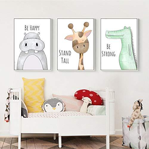 KWzEQ Peinture sans Cadre bébé Chambre d'enfant décoration Girafe Lion Crocodile zèbre Hippopotame Mur artAY7197 60X90cmx3