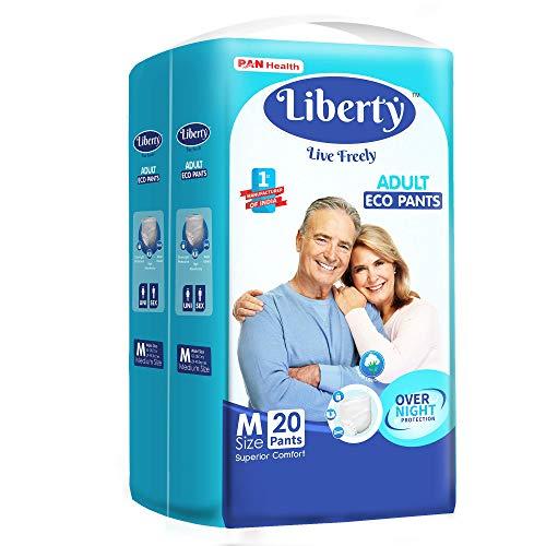 Liberty Eco Adult Diaper Pants, Medium 20's Pack (65-85 Cms | 26-33 Inches)
